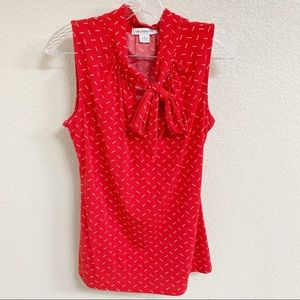 Liz Claiborne, sleeveless, blouse, bow tie, s